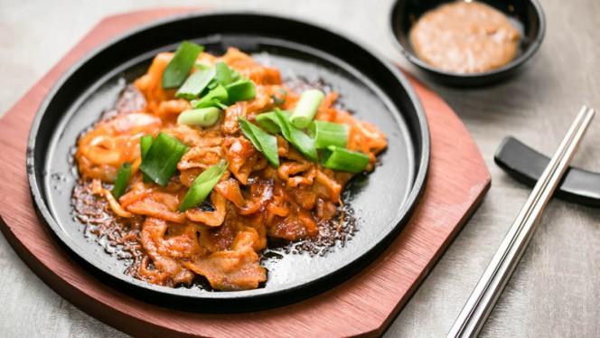 Pancetta grigliata alla salsa piccante della casa - Hana Ristorante Coreano, Milan