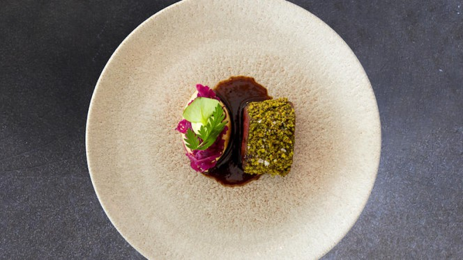 Deer • red cabbage • wasabi • green herbs - Moon, Amsterdam