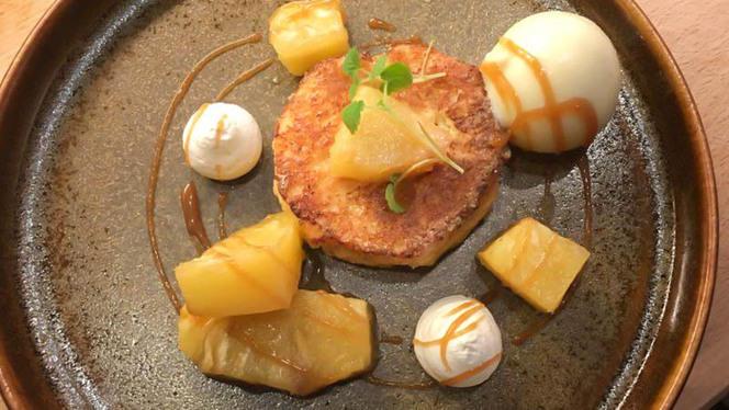 Brioche perdue, ananas confit au rhum, sorbet et crème vanille - Parfums de Cuisine, Namur