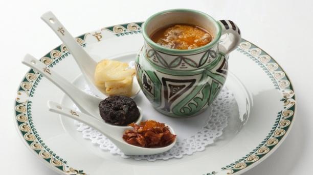 Sopa de perolico con sus acompañamientos - Restaurante Parador de Teruel, Teruel